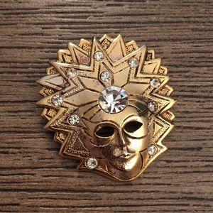 Goldtone Mardi Gras Mask Pin Masquerade Pin